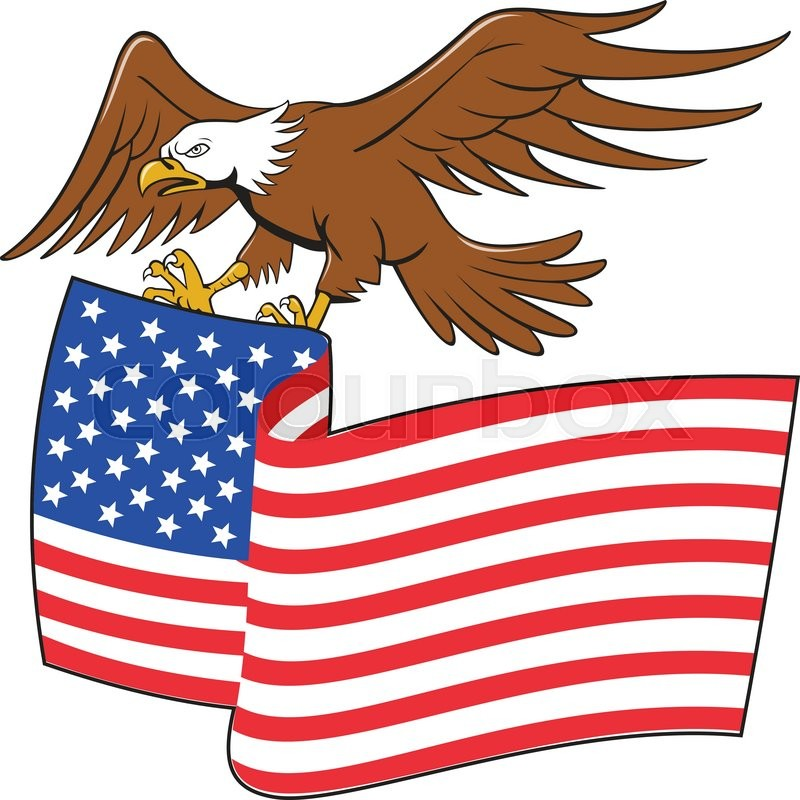 illustration of an american bald eagle carrying usa stars and rh colourbox com