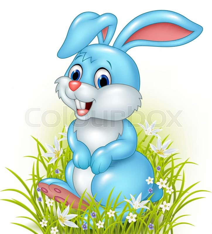 ... vector of 'Vector illustration of Cartoon rabbit on grass background