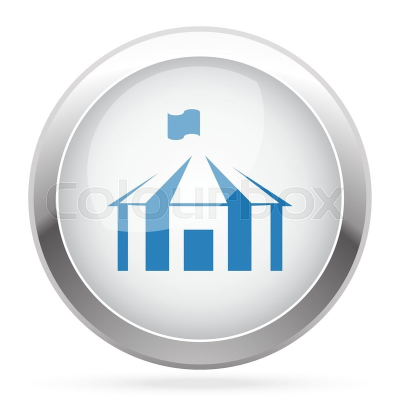 Blue Party Tent icon on white glossy chrome app button, vector