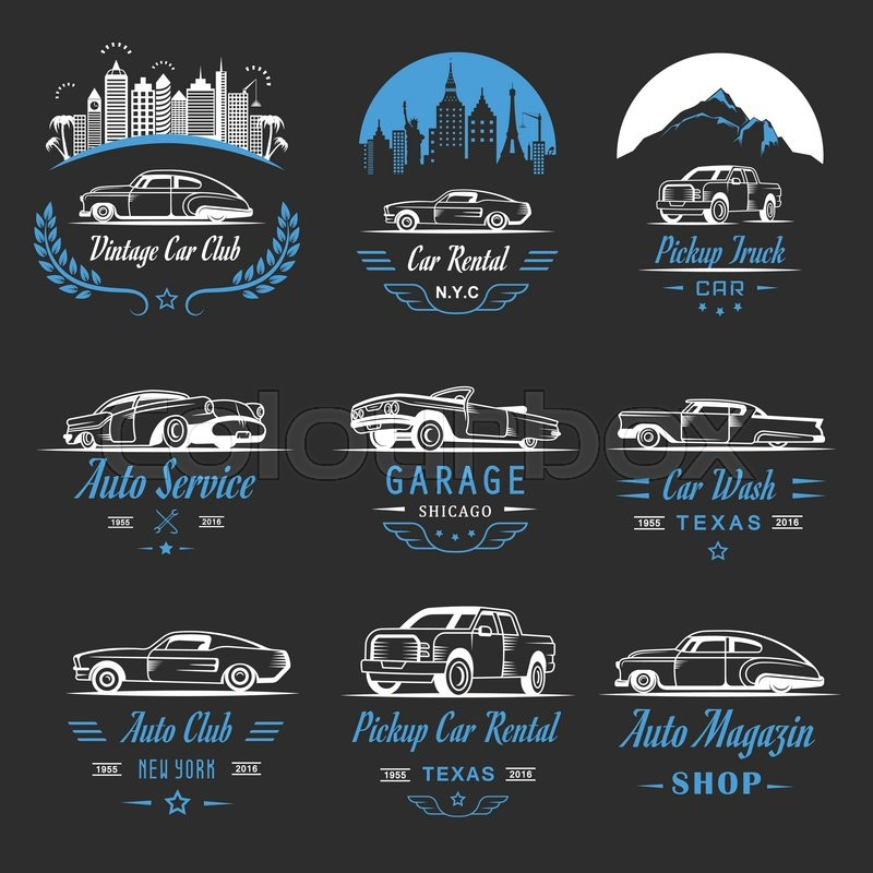 Vector set of vintage car symbols and sign. Car service and car sale ...