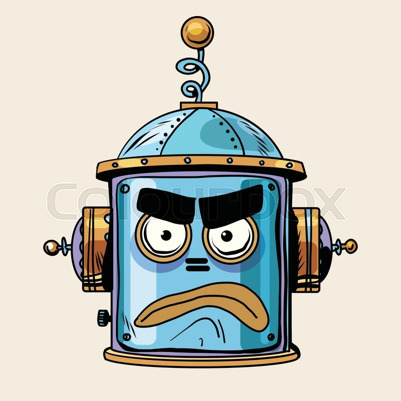 Emoticon angry emoji robot head smiley emotion pop art retro style. Human emotions. Icon symbol. Technology and artificial intelligence, vector