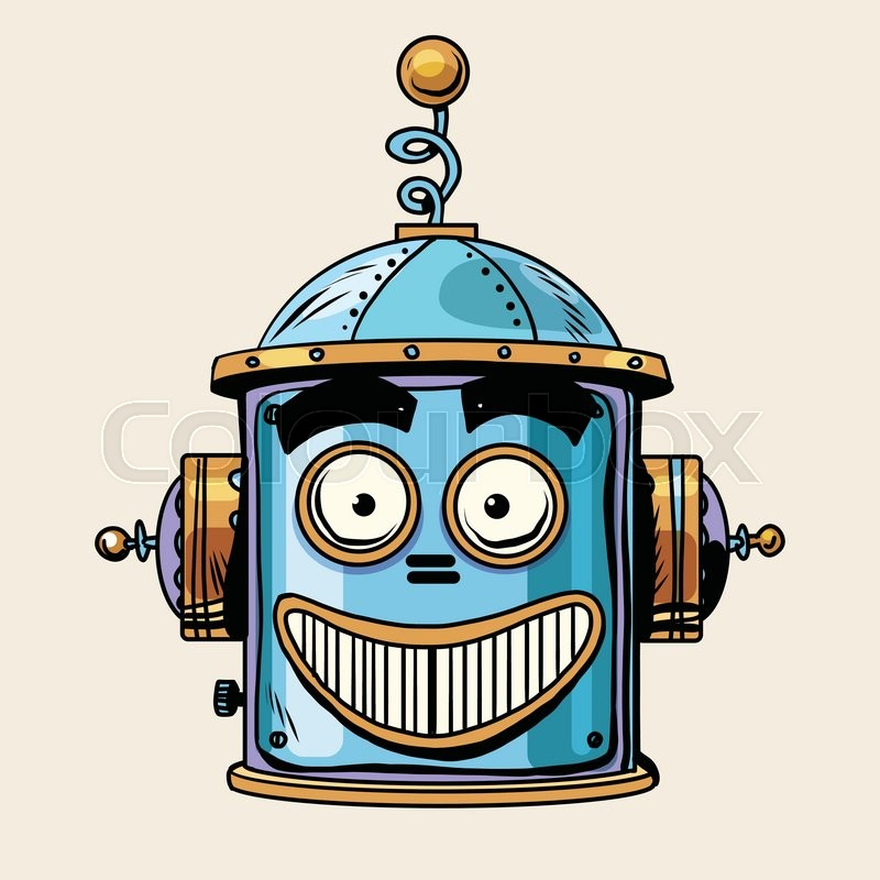 Emoticon happy emoji robot head smiley emotion pop art retro style. Human emotions. Icon symbol. Technology and artificial intelligence, vector