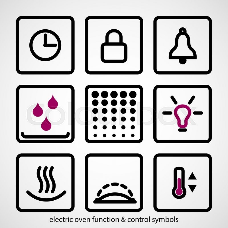 Electric Oven Function Control Symbols Outline Icon Collection