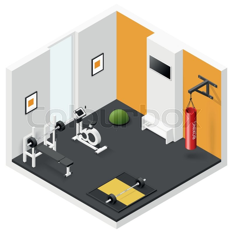 Home fitness room isometric icon set vector graphic