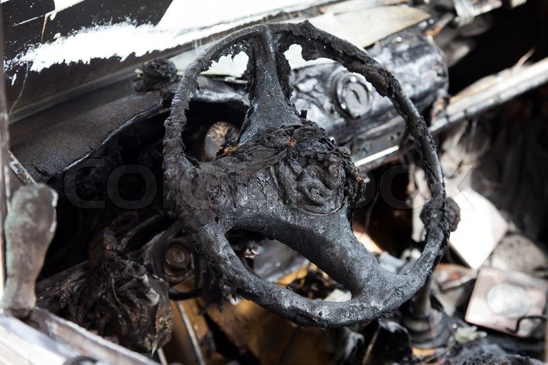 wreck accident fire burnt wheel car vehicle junk stock photo colourbox. Black Bedroom Furniture Sets. Home Design Ideas