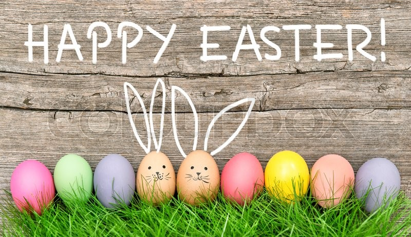 Stock image of Easter eggs cute bunny Funny holidays decoration Happy Easter