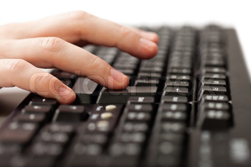 Business Human Hand Working Pc Computer Keyboard Stock
