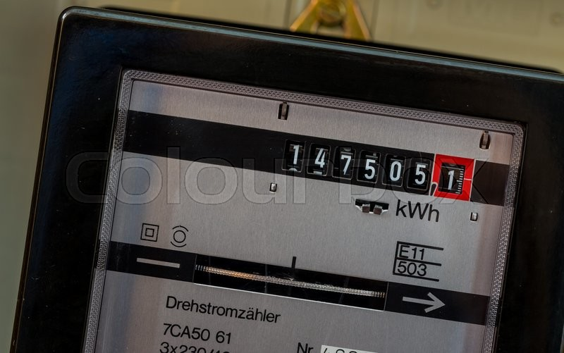 An electricity meter measures the current consumed. save symbolfoto for electricity price and electricity, stock photo