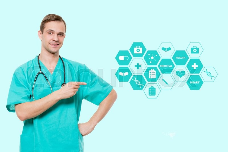 Healthcare, profession, symbols, people and medicine concept - smiling male doctor with stethoscope in white coat over blue background with medical icons, stock photo