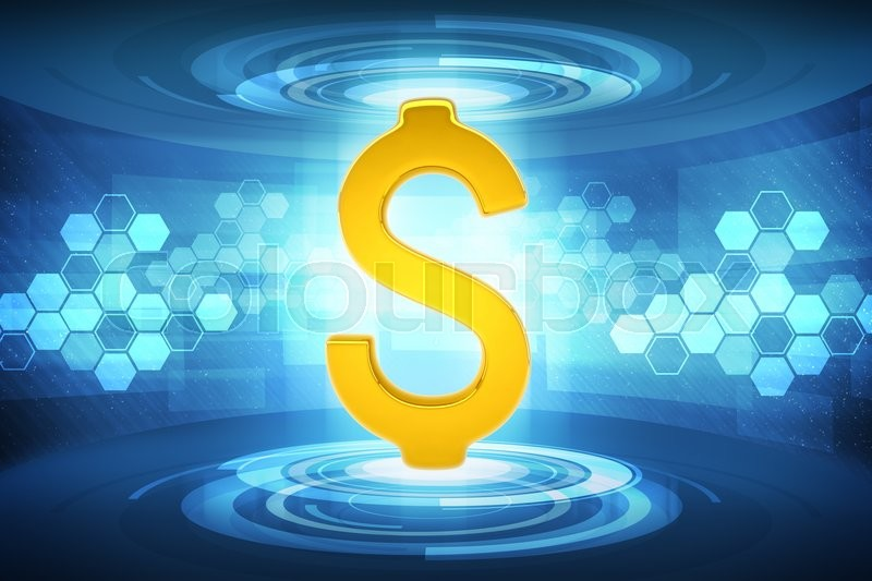 gold dollar sign on abstract blue background money