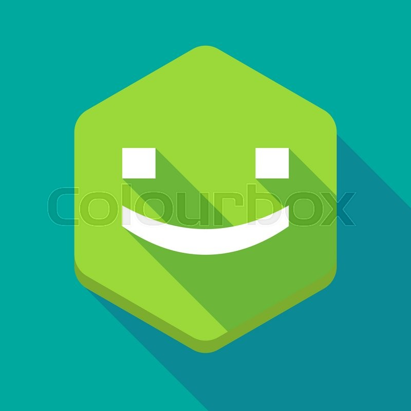 Illustration Of A Long Shadow Hexagon Icon With A Smile Text Face
