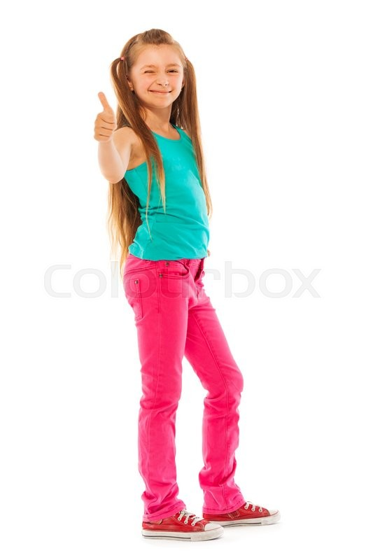 happy girl stand with thumb up gesture full height portrait isolated