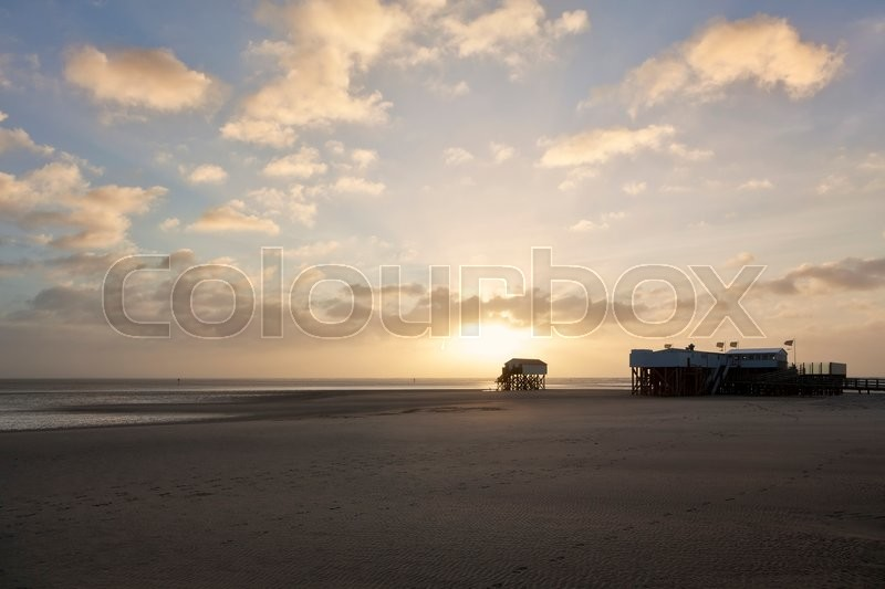 Stock image of 'Pile dwellings at the North Sea Beach of St Peter-Ording'