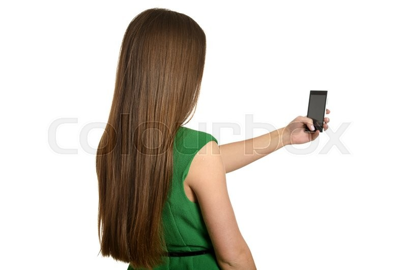 Stock image of 'Pretty girl taking selfie with her smart phone'