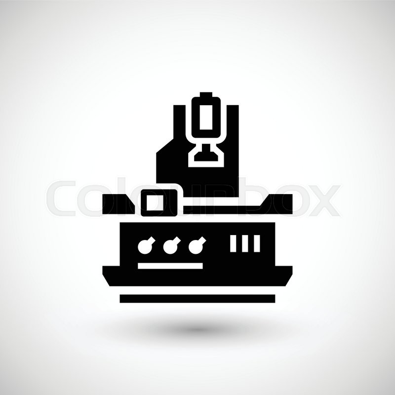 vertical milling machine icon isolated on grey vector