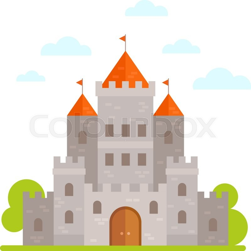 flat cartoon medieval stone castle isolated on white background rh colourbox com bouncy castle cartoon images bouncy castle cartoon images