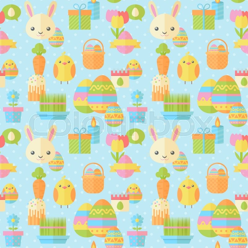 cute easter seamless pattern in flat with traditional spring holiday