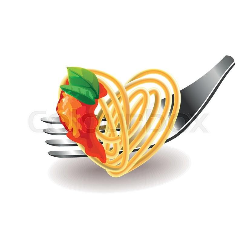 spaghetti on fork isolated photorealistic vector
