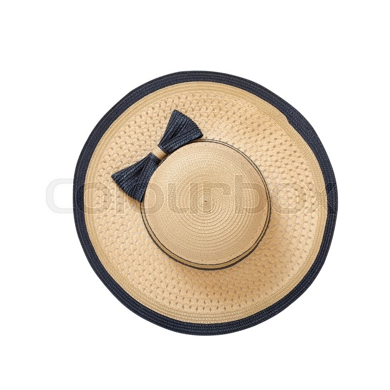 4610727c Stock image of 'Pretty straw hat with ribbon and bow on white background.  Beach