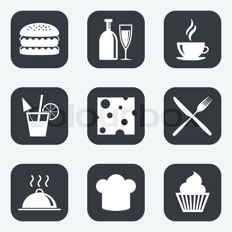 Food, drink icons. Coffee and hamburger signs. Cocktail, cheese and cupcake symbols. Flat square buttons with rounded corners, vector