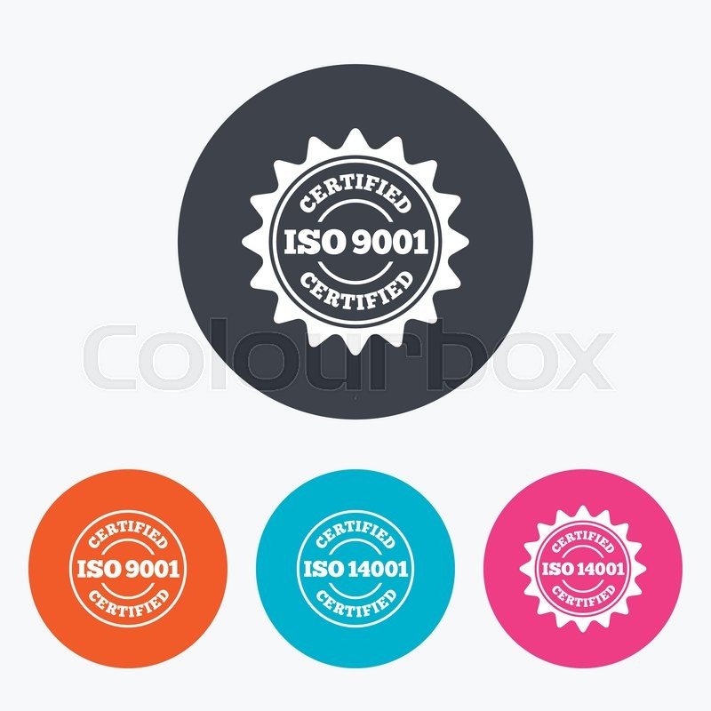 ISO 9001 and 14001 certified icons. Certification star stamps ...