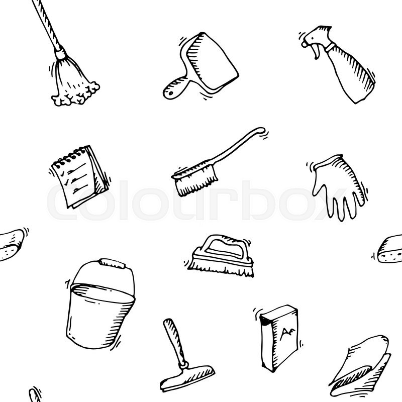 seamless doodle pattern of house cleaning icons clean symbols