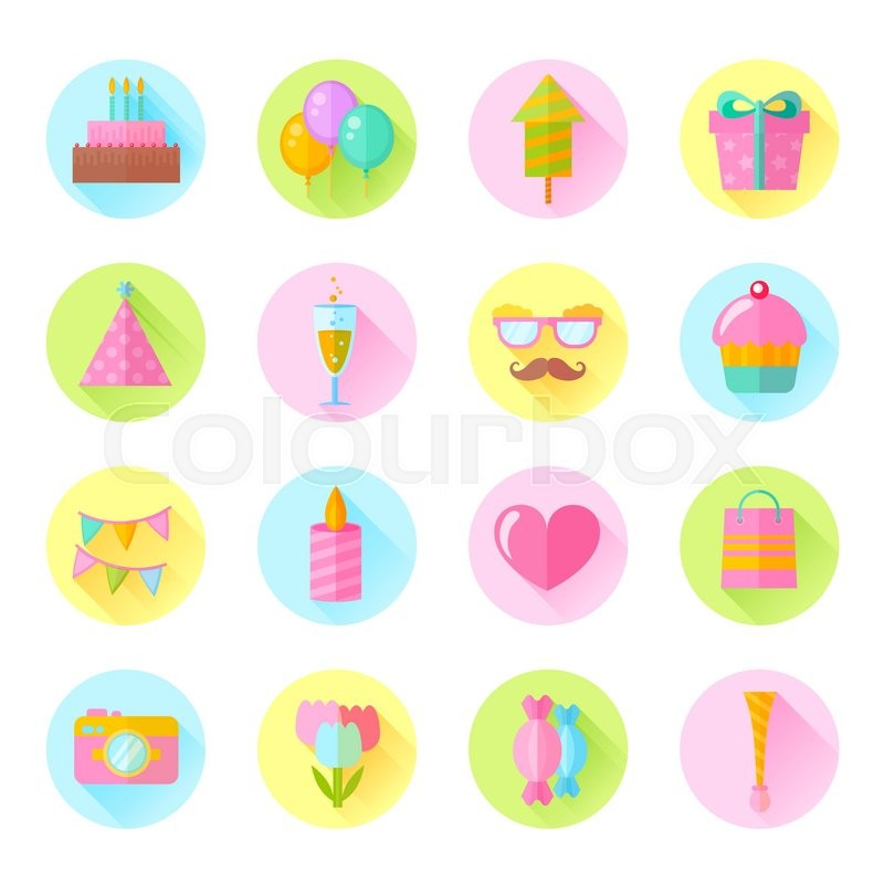 Festive birthday flat icons set with cake air balloons gift boxes festive birthday flat icons set with cake air balloons gift boxes hats and ribbons for websites invitations and greeting cards stock vector m4hsunfo