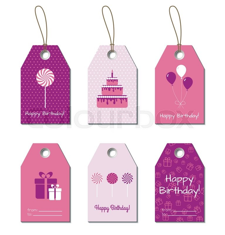 Happy Birthday Vector Tags Birthday Greetings Small Gift Cards