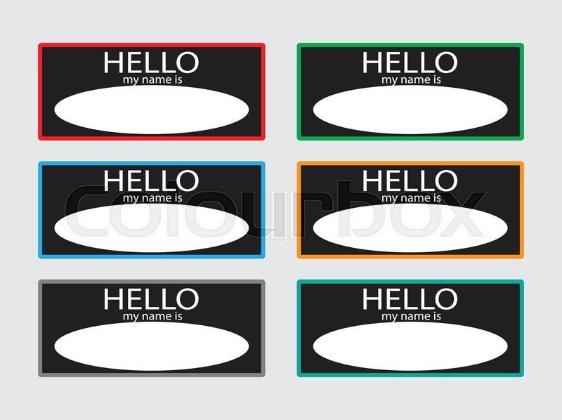 Hello my name is sticker badge set black name tag name card baby names name plate list of names my name is identification and business meet