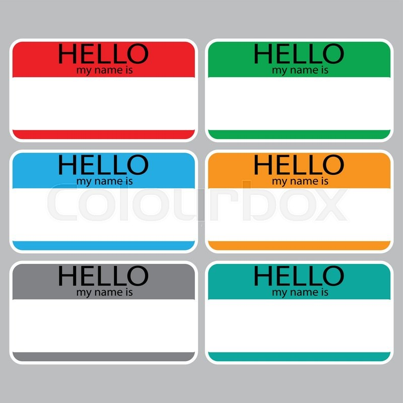 Hello my name is sticker sign badge set color name tag name card baby names name plate list of names my name is vector abstract flat design