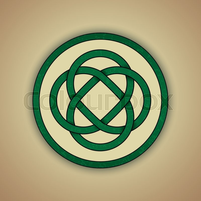 Vector Illustration Of Green Celtic Knot With Slight Grunge Texture