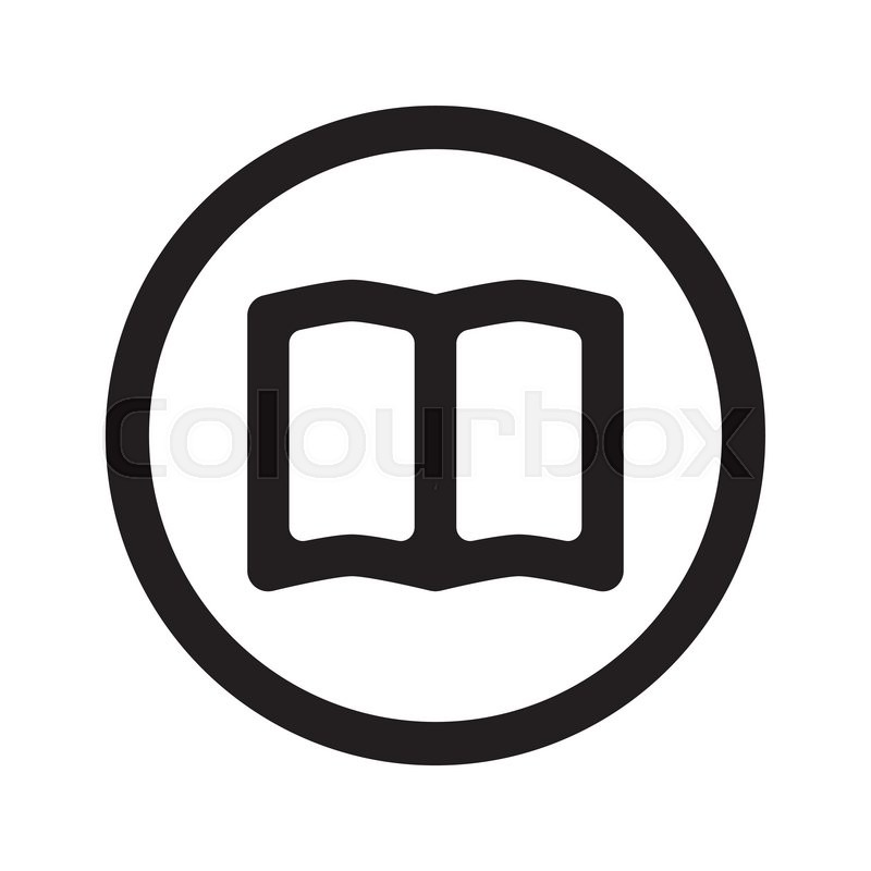 Flat Black Book Web Icon In Circle On White Background
