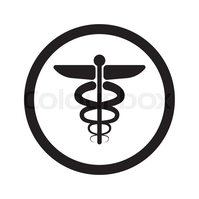 Flat Black Medical Symbol Web Icon In Circle On White Background