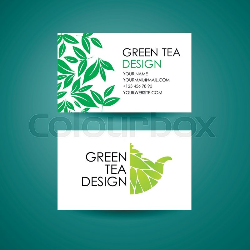 Green Tea logo template. Business card desing concept. Vector ...