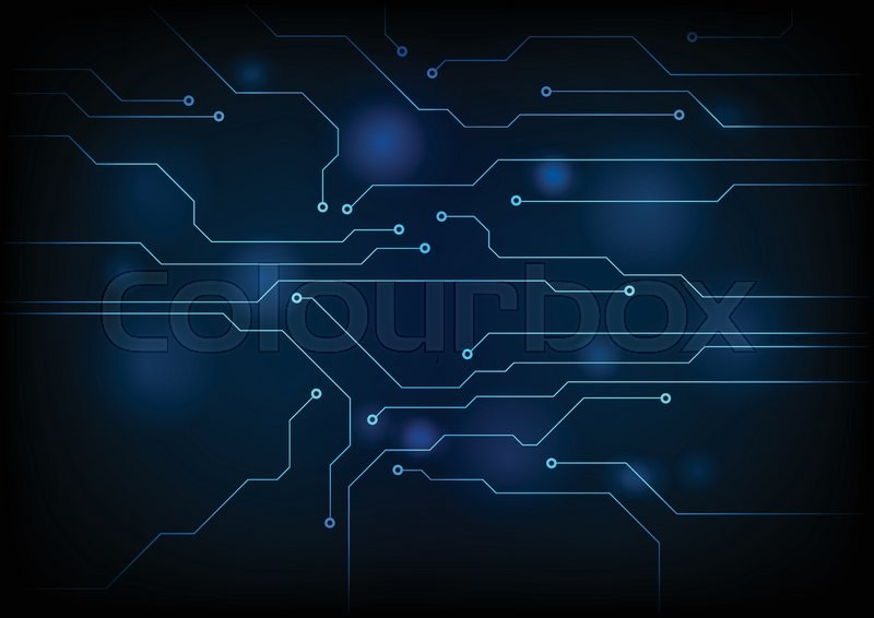Dark blue circuit board technology background vector for Design teich