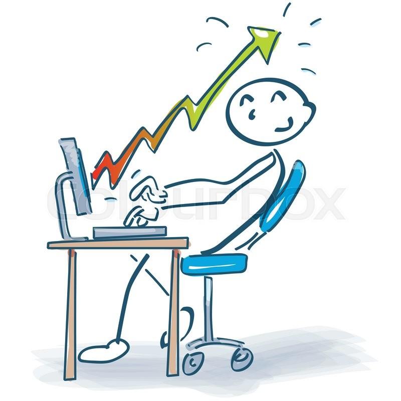 Schreibtisch büro clipart  Strichmännchen am Schreibtisch mit Computer und kein Strom ...