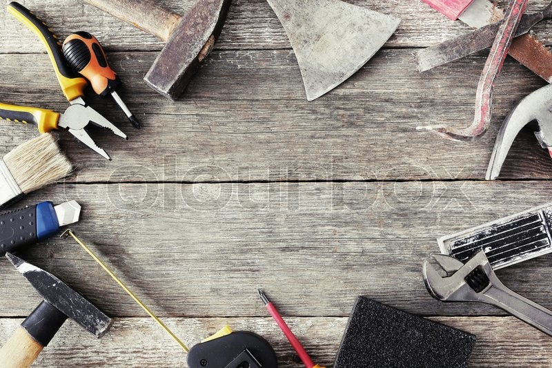 Stock image of 'Various DIY tools on the table'