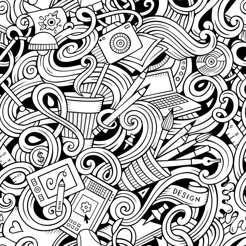 Cartoon Hand Drawn Doodles On The Subject Of Design And Art Theme Seamless Pattern Line Detailed With Lots Objects Vector Background