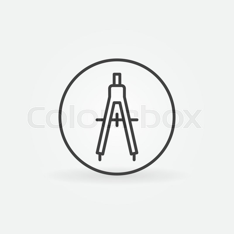 Compasses Concept Icon Vector Linear Drawing Compass Symbol Or