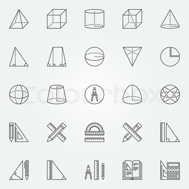 Geometry Icons Set Vector Set Of Linear Mathematics And Geometry