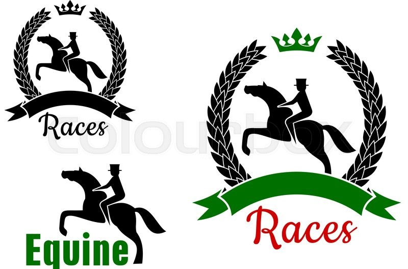 Equestrian Sport Symbols For Horse Racing Competition Design With