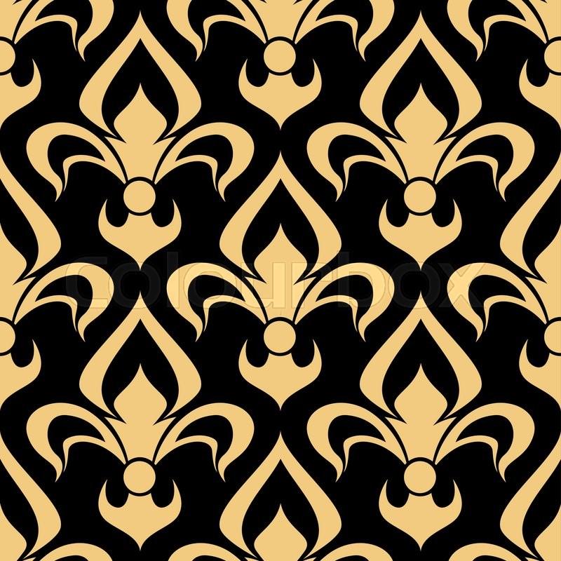 Vintage Golden Fleur De Lis Pattern For Heraldic Backdrop