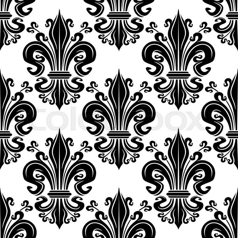 Black Fleur De Lis Ornate Seamless Pattern Of Victorian