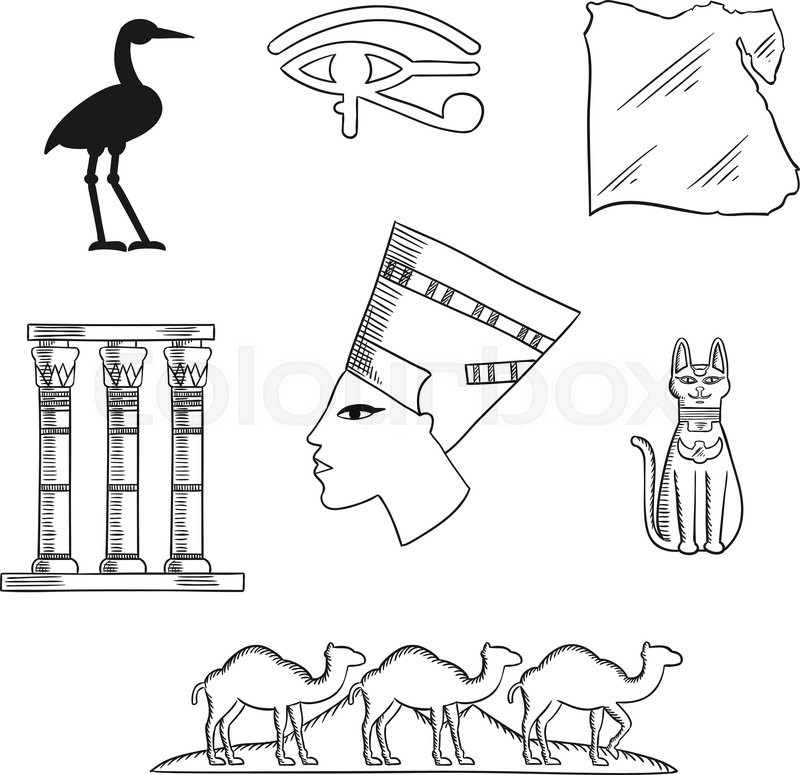 Ancient Egypt Sketch Icons With Queen Nefertiti Cat Goddess And