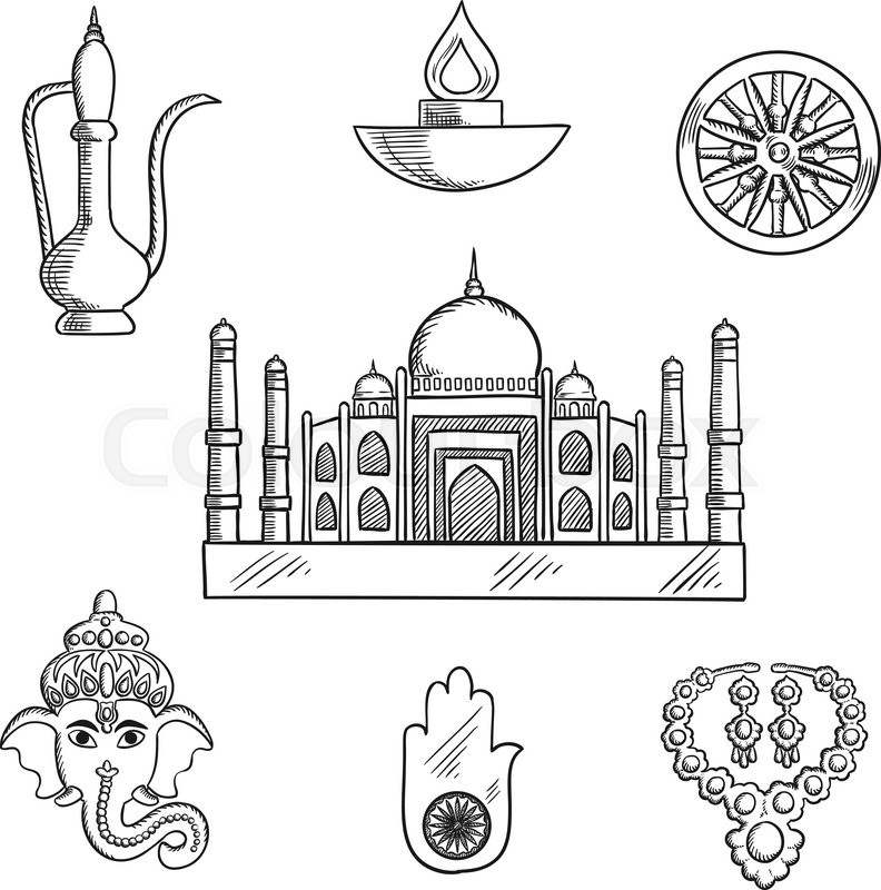 Indian Religion And Culture Symbols With Ganesha God And Element