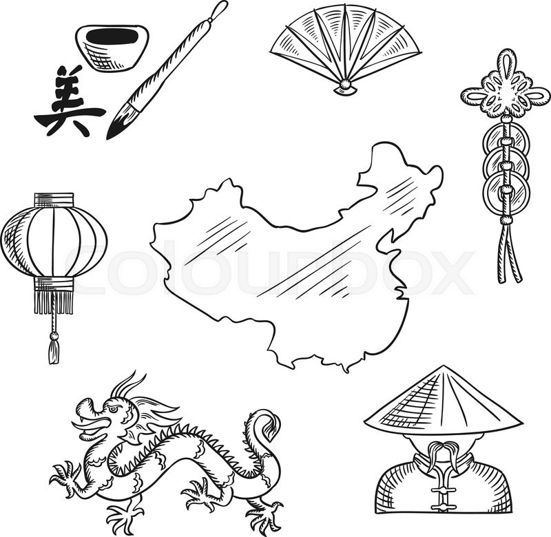 Chinese National Symbols With Dragon And Mandarin Or Chinaman