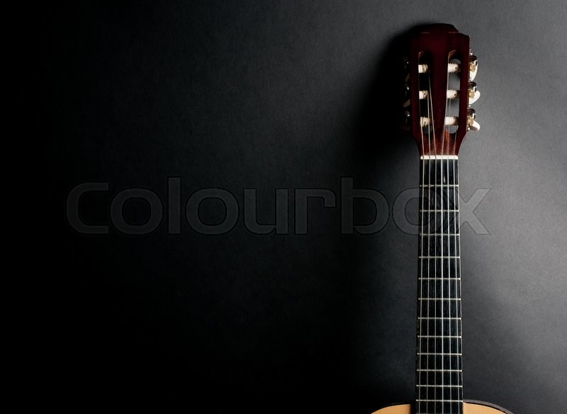 Neck Of An Old Acoustic Guitar On A Stock Photo Colourbox