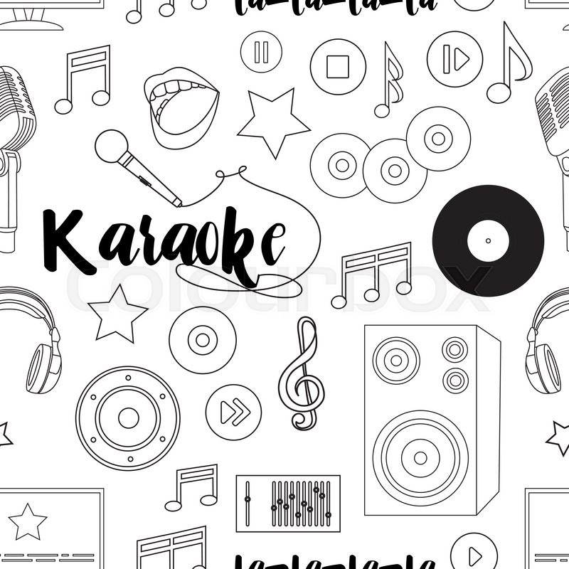Vector pattern on the theme of karaoke Hand drawn pattern