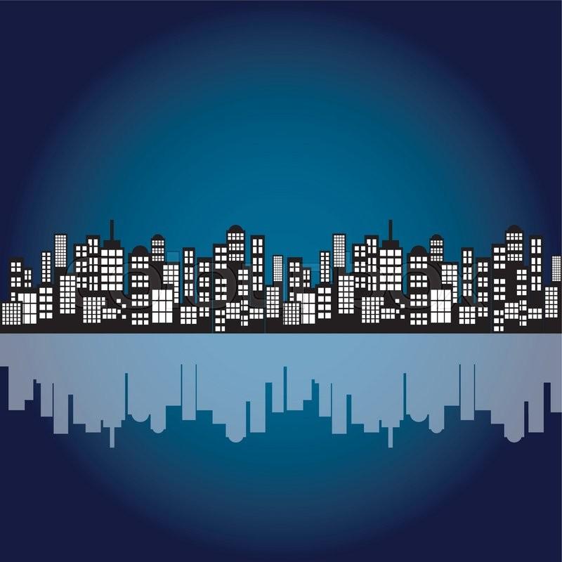 Style Cartoon Night City Skyline Background. Vector ...