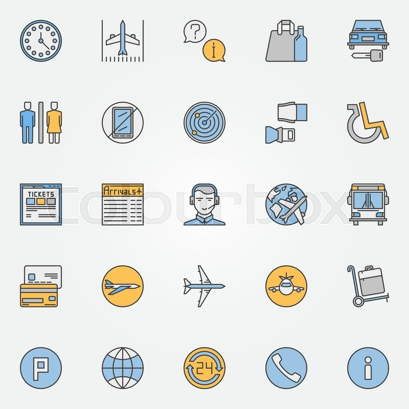 Colorful Air Travel Or Airport Icons Vector Set Of Airport Symbols